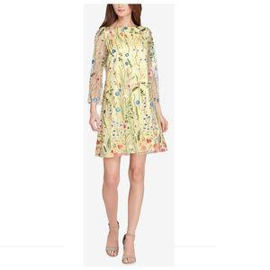 NWT Tahari Yellow Short Daytime Floral Shift Dress